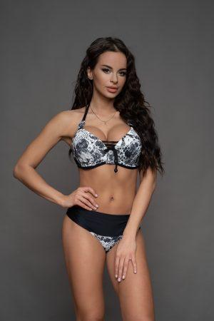 Fekete virágos Capri bikini