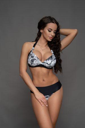 Fekete virágos Corse bikini